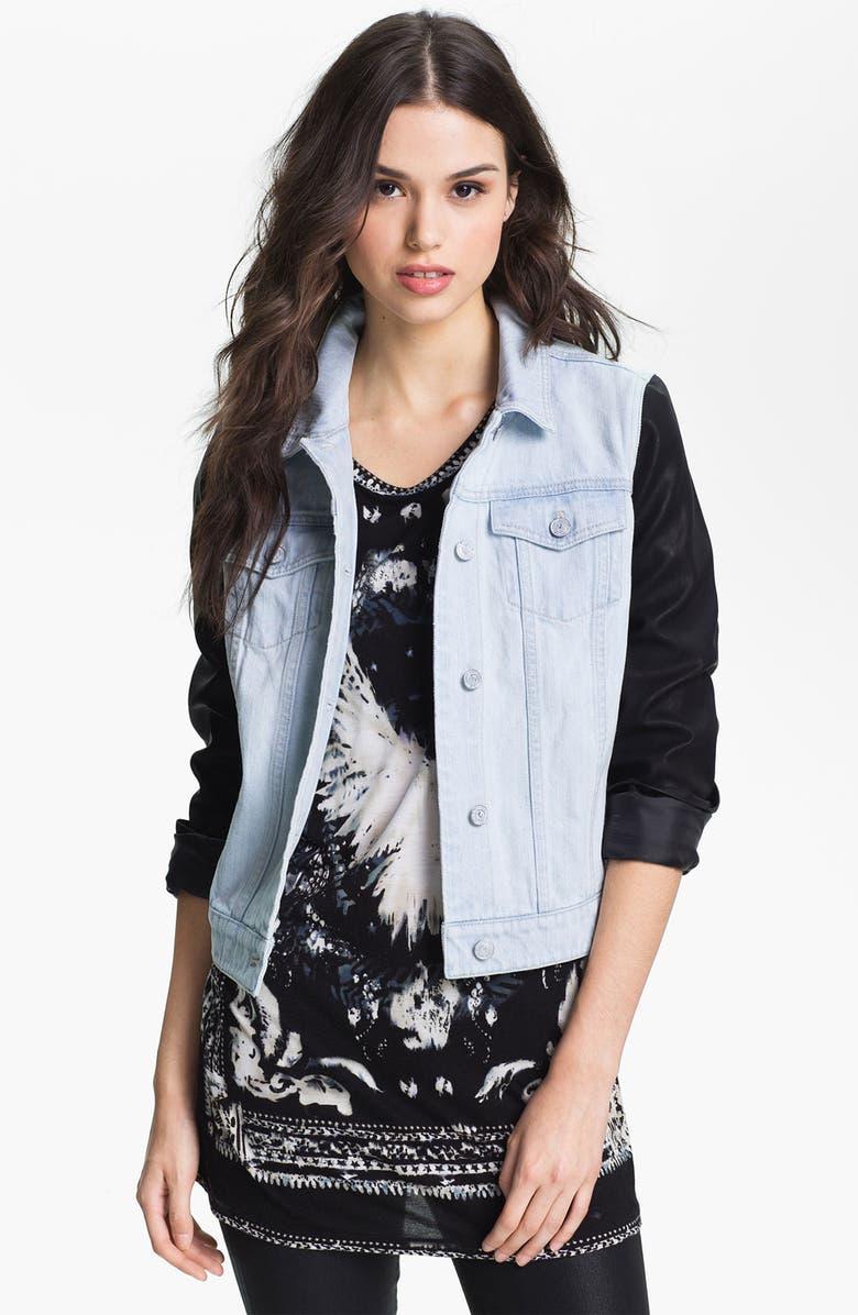 TROUVÉ Faux Leather & Denim Jacket, Main, color, 110