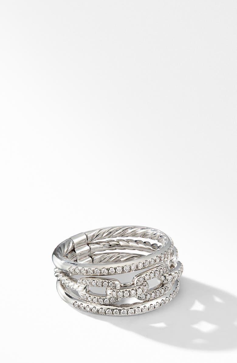DAVID YURMAN Stax 3-Row Chain Link 18k White Gold Ring with Diamonds, Main, color, WHITE GOLD/ DIAMOND