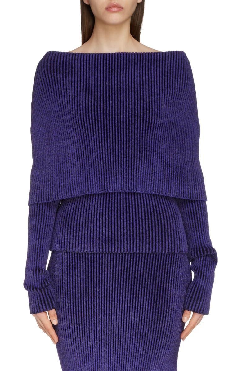 BALENCIAGA Foldover Off the Shoulder Rib Chenille Sweater, Main, color, ULTRA VIOLET/ BLACK