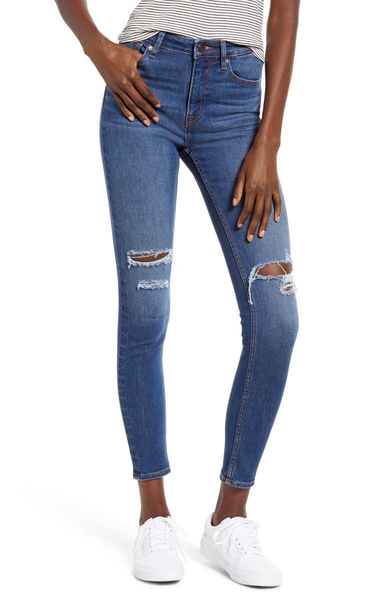 VIGOSS Ace Ripped High Waist Skinny Jeans, Main, color, MEDIUM WASH