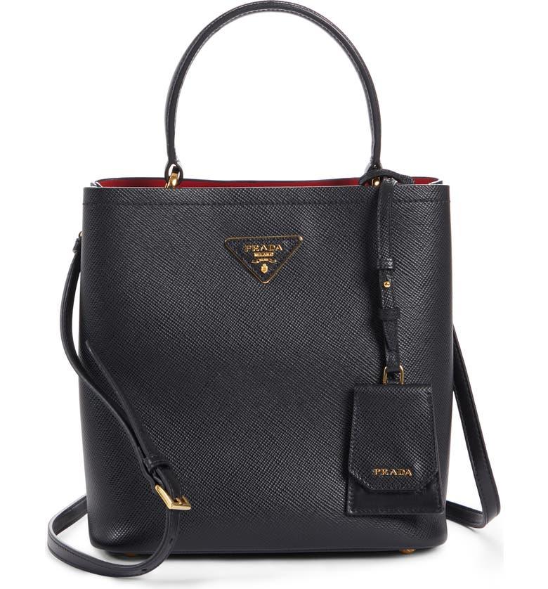 PRADA Double Bucket Bag, Main, color, NERO/ FUOCO