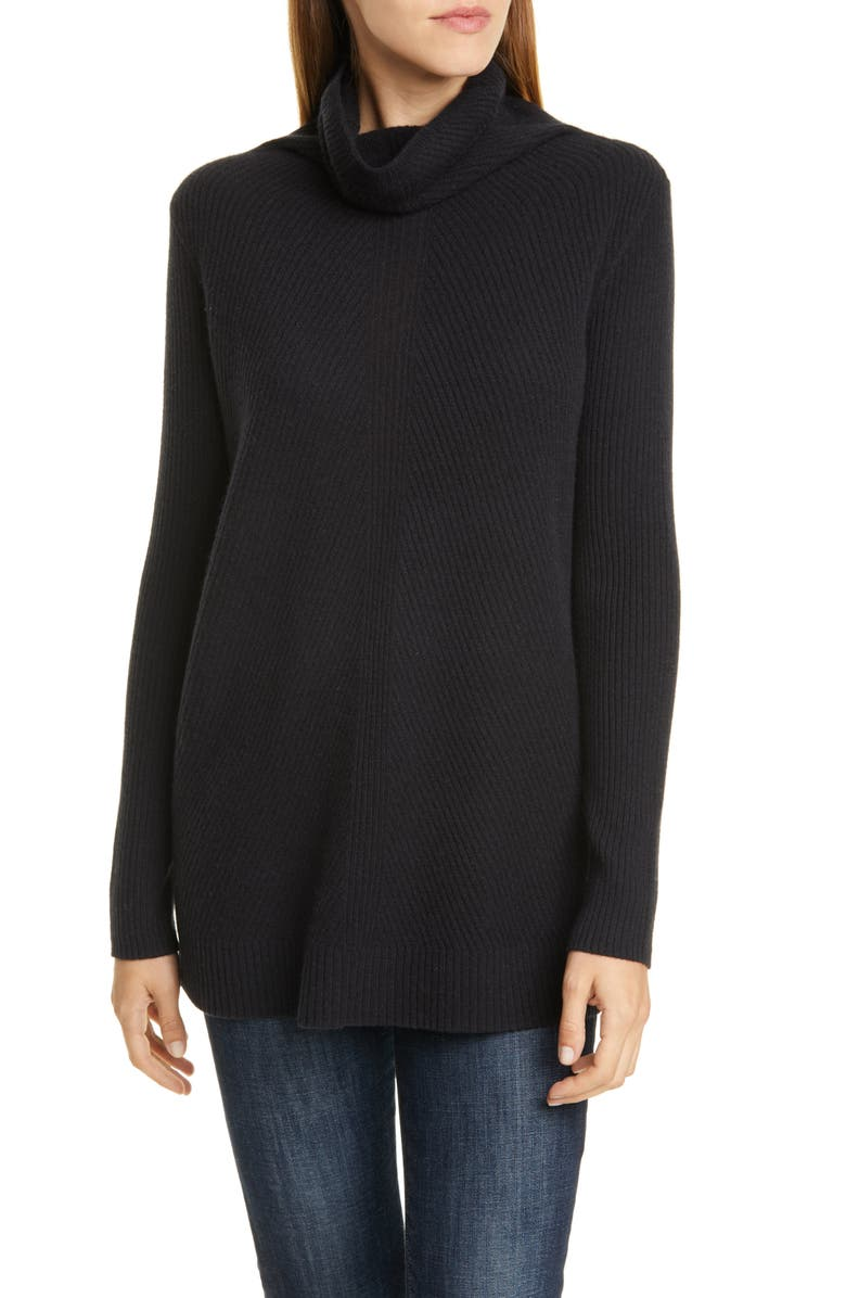 NORDSTROM SIGNATURE Cowl Neck Cashmere Sweater, Main, color, BLACK
