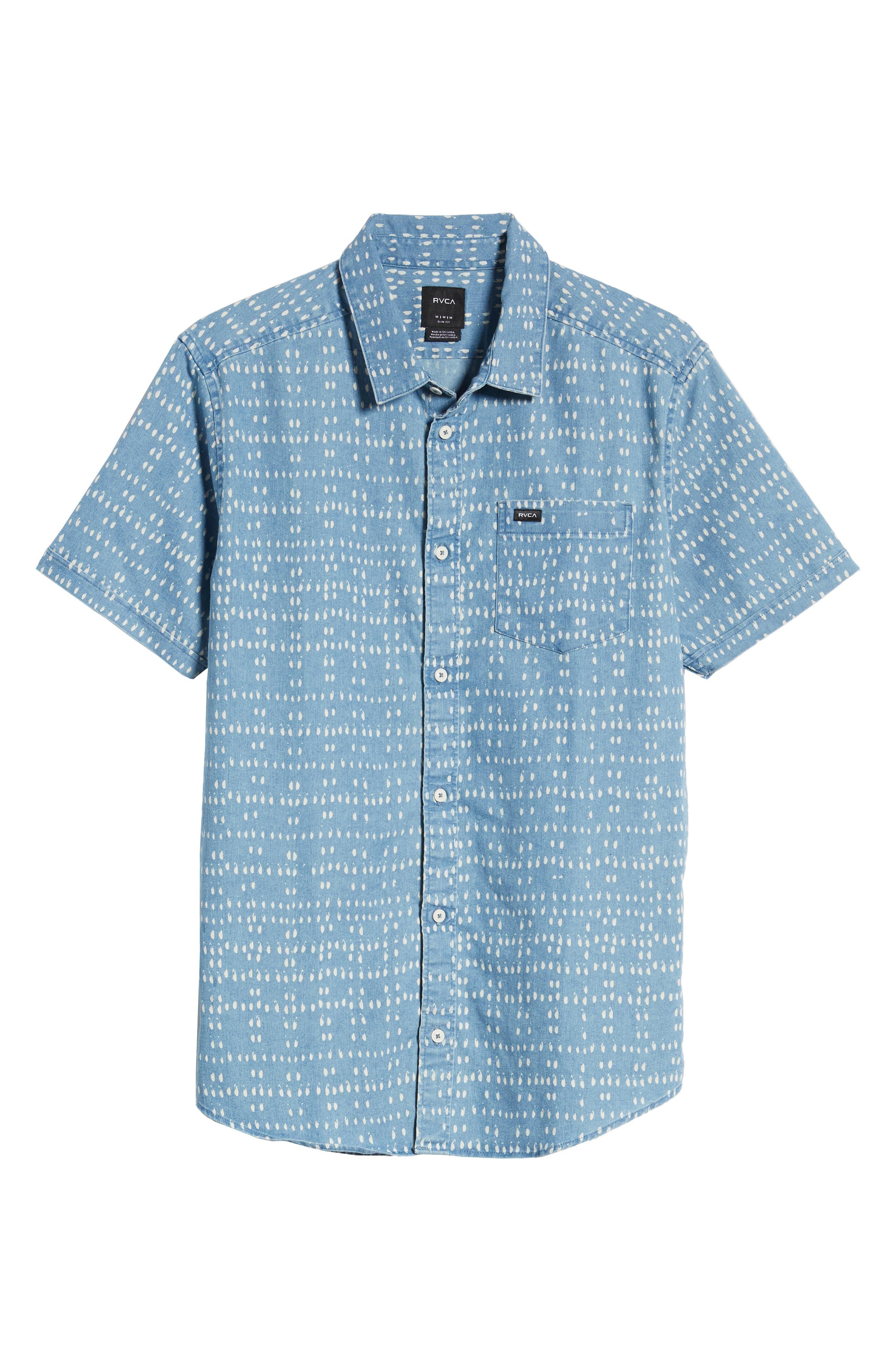 ,                             Nakama Dot Slim Fit Woven Shirt,                             Alternate thumbnail 5, color,                             DENIM