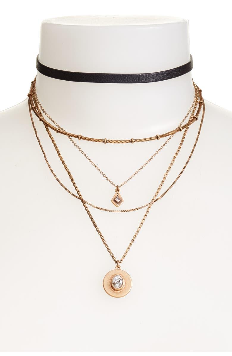 TREASURE & BOND Multstrand Choker Necklace, Main, color, 001