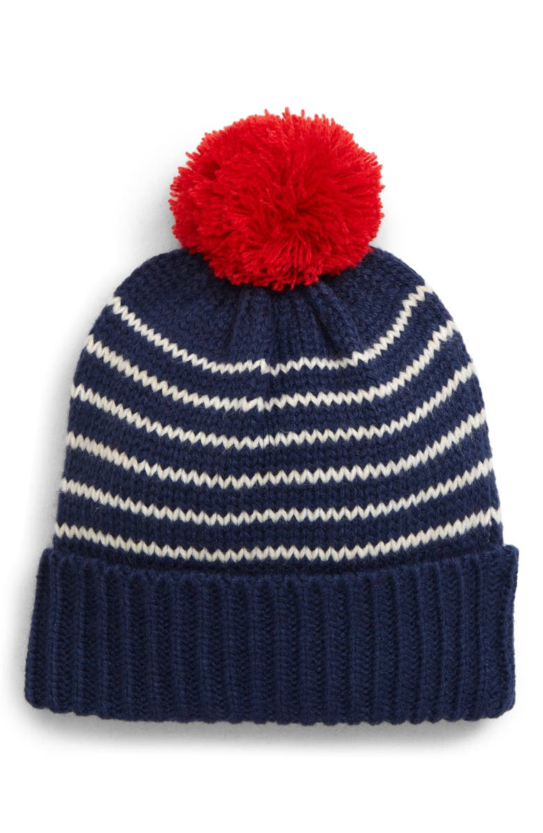 MINI BODEN Pompom Knit Hat, Main, color, BLU STARBOARD BLUE/ ECRU MARL