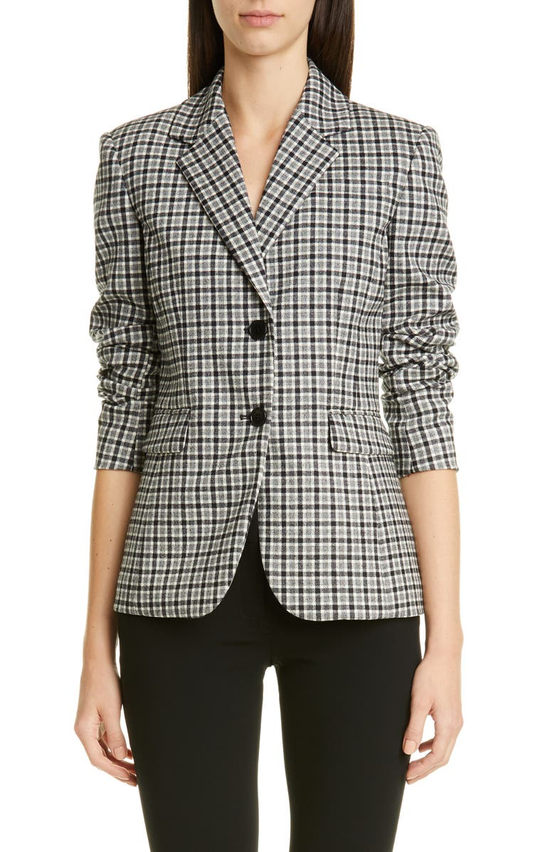ALTUZARRA Two-Button Tartan Jacket, Main, color, 001
