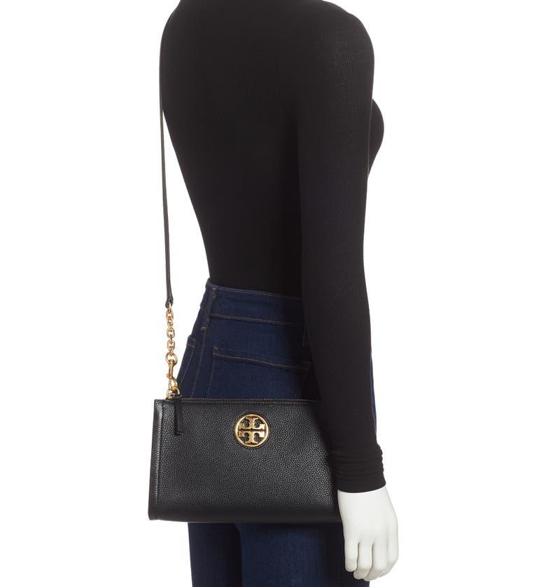 TORY BURCH Carson Zip Top Crossbody Bag, Alternate, color, BLACK