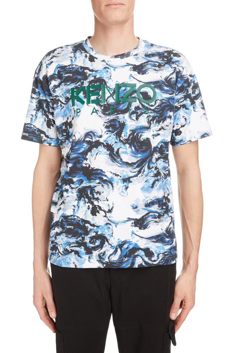 KENZO Logo Cloud Graphic T-Shirt, Main, color, 100