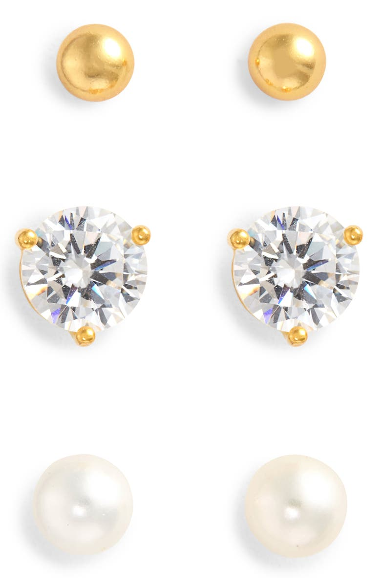 NORDSTROM 3-Pack Stud Earrings, Main, color, CLEAR- WHITE- GOLD