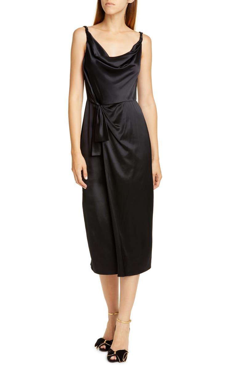 SALONI Giselle Draped Satin Midi Dress, Main, color, 02-BLACK
