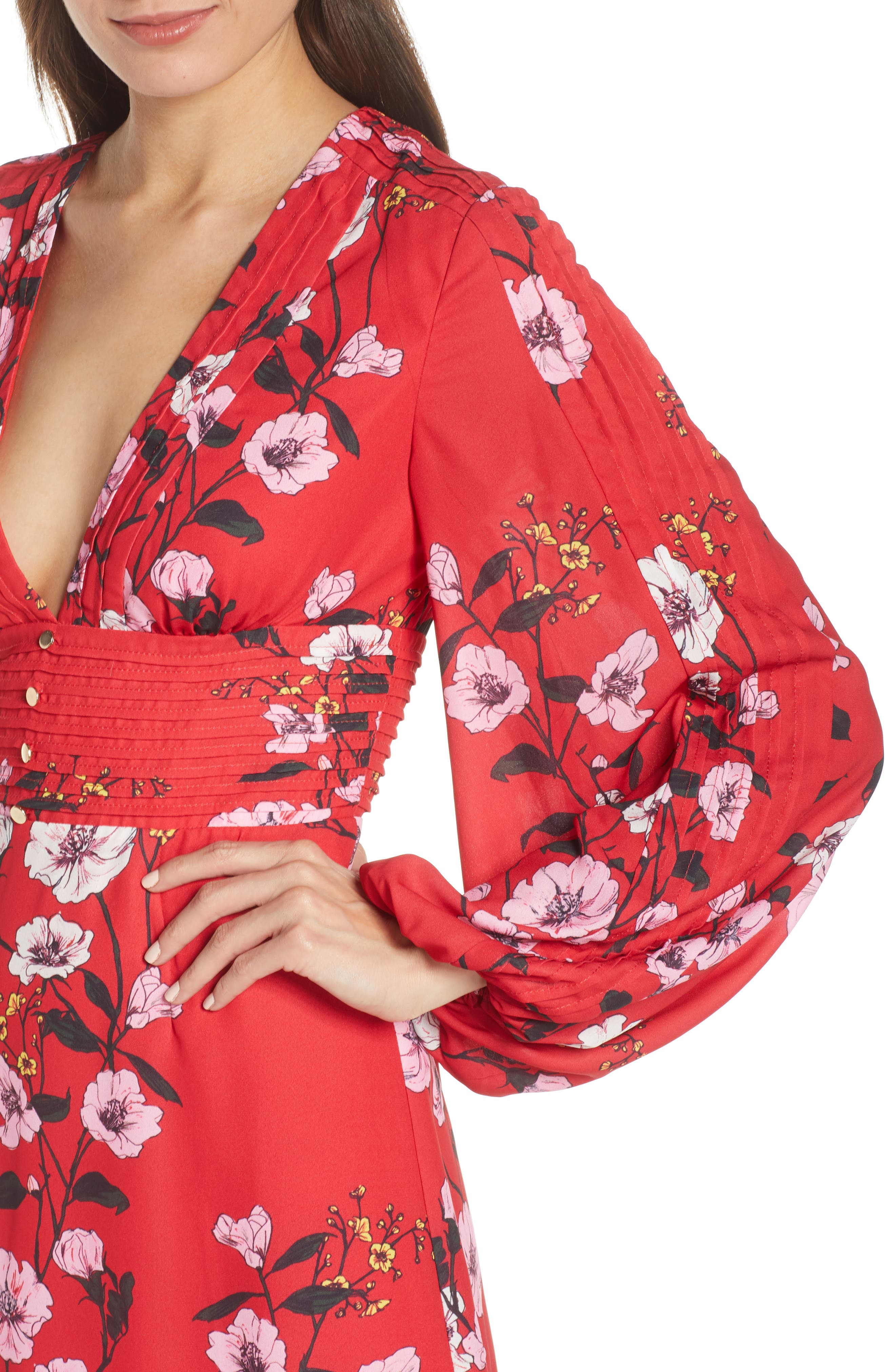 ,                             Darkness Floral Long Sleeve Minidress,                             Alternate thumbnail 5, color,                             SCARLET RED BLOOM
