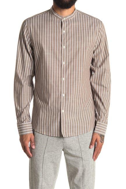 Image of Michael Kors Striped Band Collar Slim Fit Sport Shirt