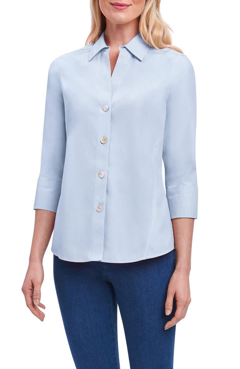 FOXCROFT Paityn Non-Iron Cotton Shirt, Main, color, BLUE WAVE