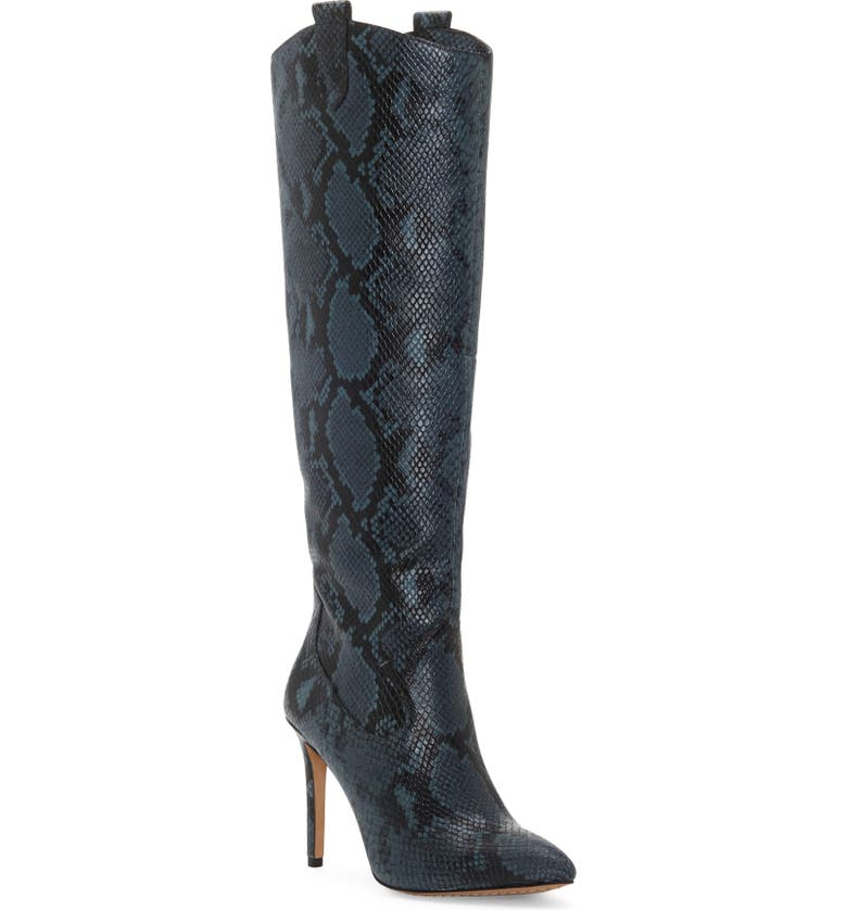 VINCE CAMUTO Kervana Croc Embossed Knee High Boot, Main, color, DARK TEAL LEATHER