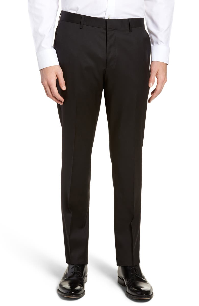 BOSS Gibson CYL Flat Front Slim Fit Solid Wool Trousers, Main, color, 001