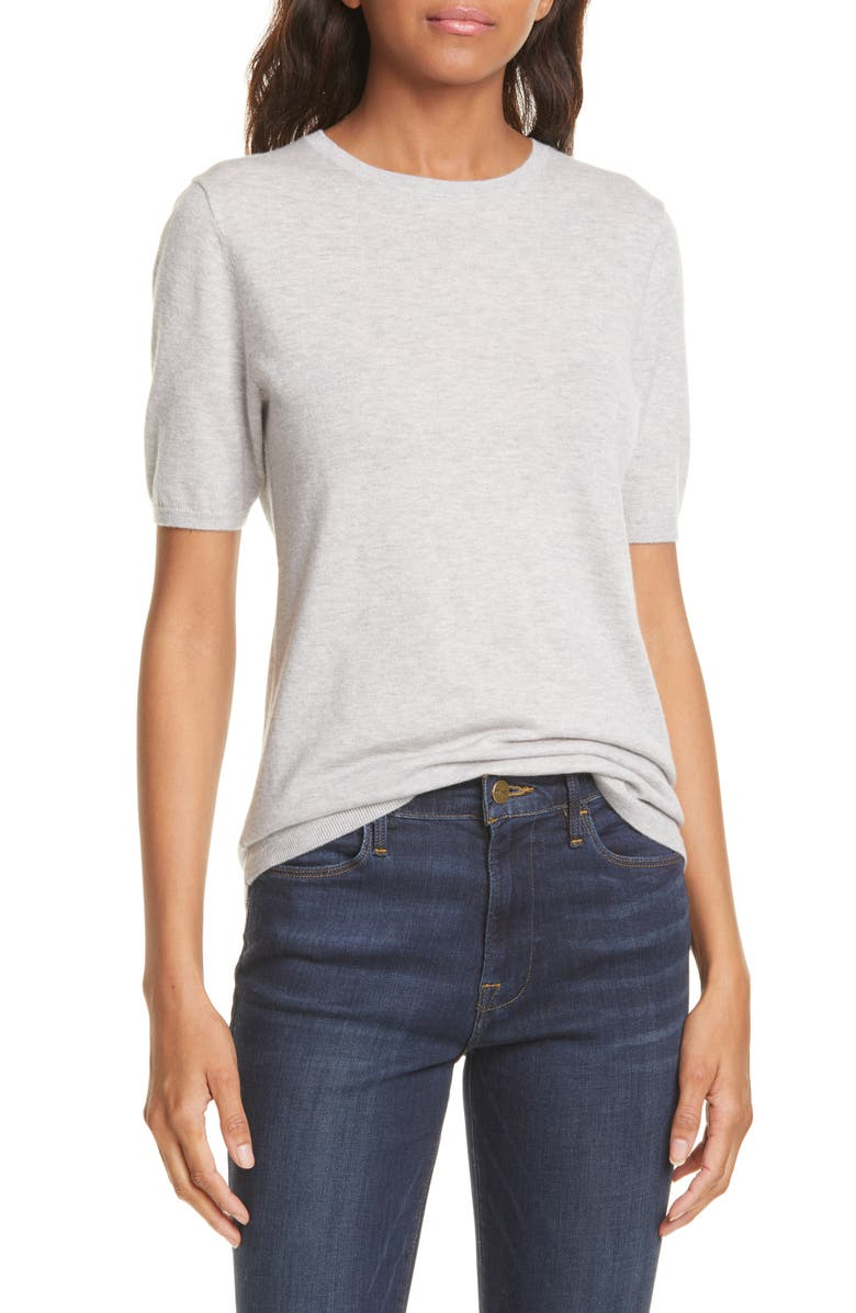 NORDSTROM SIGNATURE Short Sleeve Cashmere Sweater, Main, color, GREY CLAY HEATHER