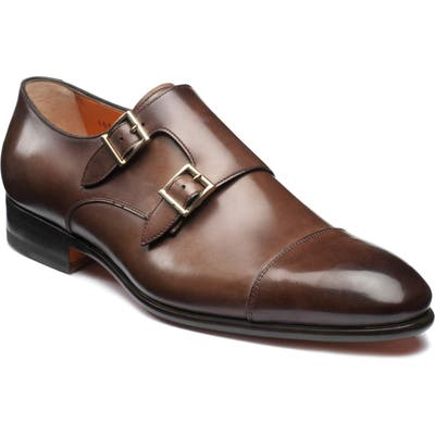 Santoni Innocent Double Monk Strap Shoe, Brown