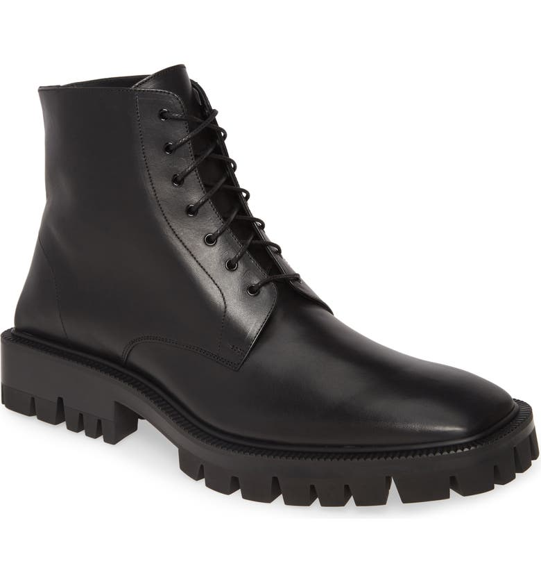 BALENCIAGA Lugged Combat Boot, Main, color, NOIR