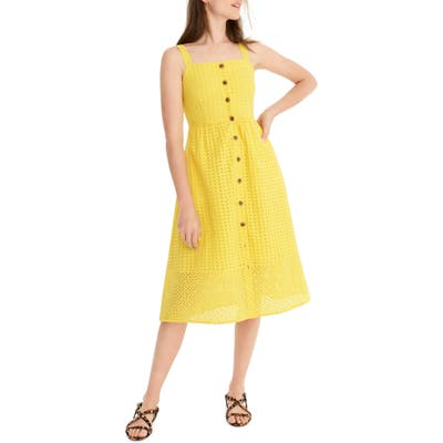 J.crew Button Front Eyelet Sundress, Yellow