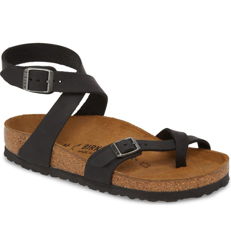 BIRKENSTOCK Yara Ankle Wrap Sandal, Main, color, BLACK OILED LEATHER