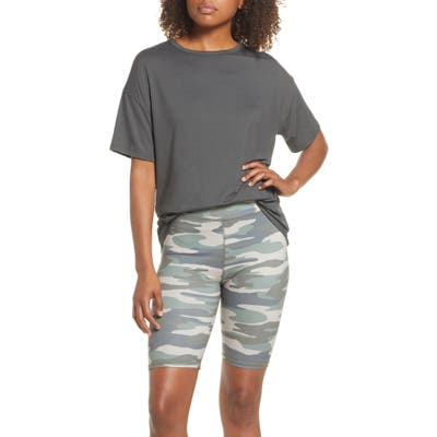 Socialite Boxy Tee & Bike Shorts Pajamas, Green