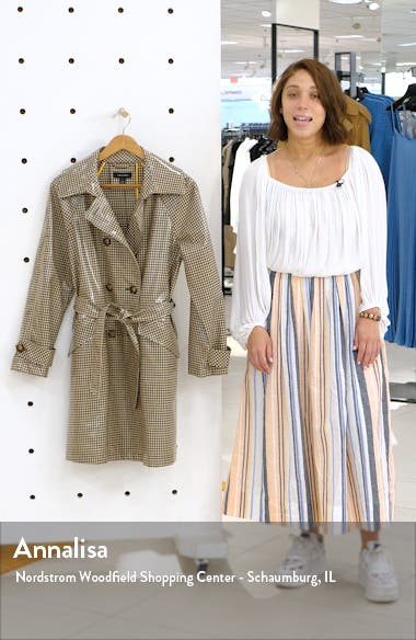 Water Resistant Coated Plaid Trench Coat, sales video thumbnail