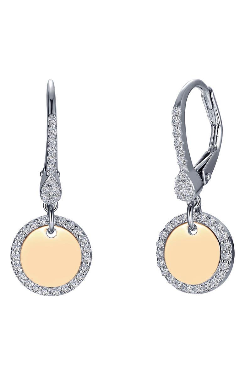 LAFONN Simulated Diamond Disc Drop Earrings, Main, color, 040