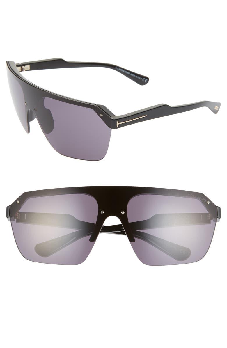 TOM FORD Razor 146mm Shield Sunglasses, Main, color, SHINY BLACK/ SMOKE