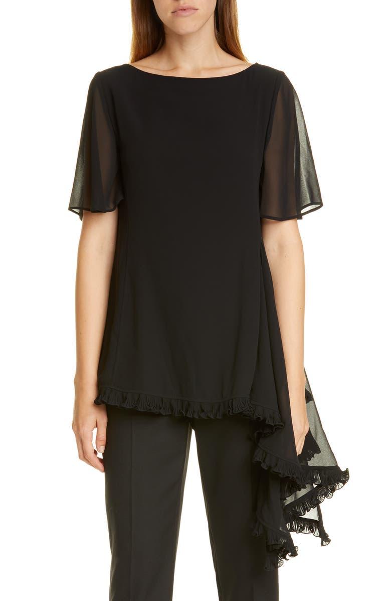 ADEAM Asymmetrical Ruffle Chiffon Top, Main, color, BLACK W/ BLACK TRIM