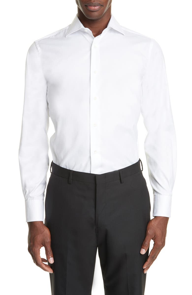 CANALI Trim Fit Solid Dress Shirt, Main, color, WHITE