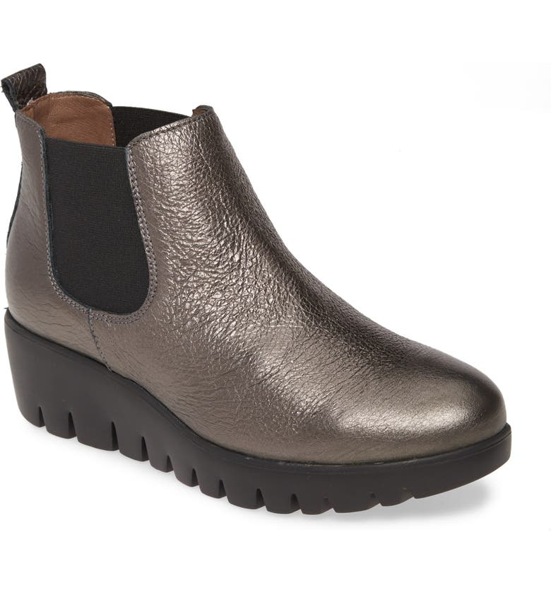 WONDERS Slip-On Chelsea Boot, Main, color, LEAD METALLIC LEATHER