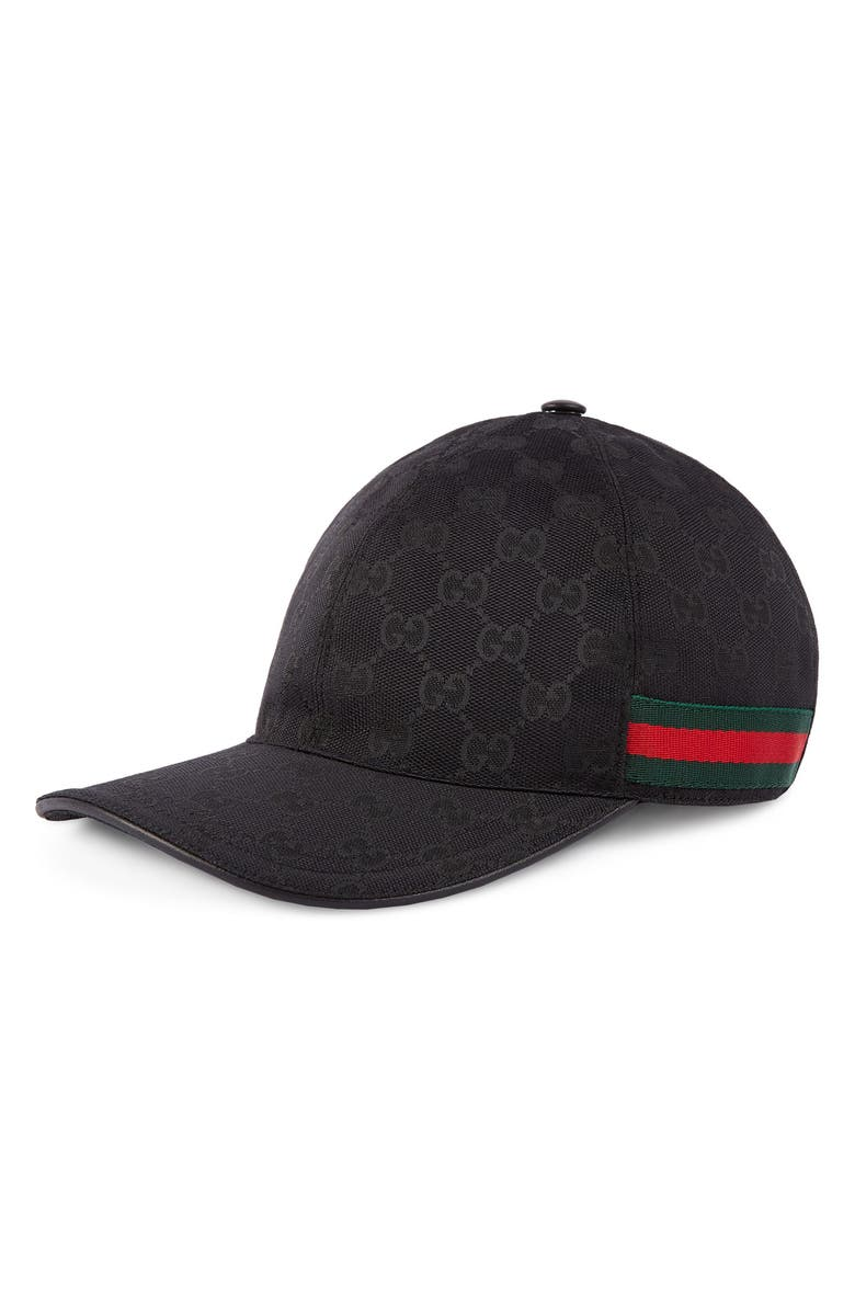 GUCCI Logo Print Baseball Cap, Main, color, 001