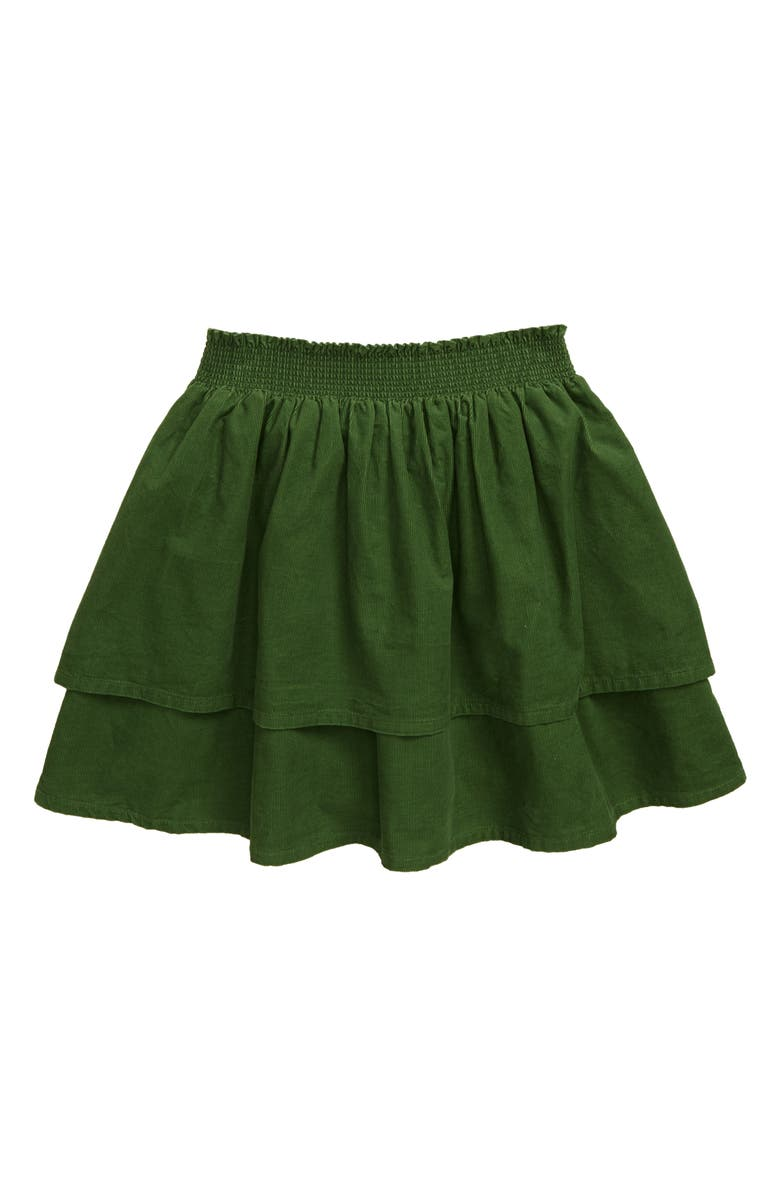 MINI BODEN Tiered Ruffle Skirt, Main, color, WILLOW GREEN