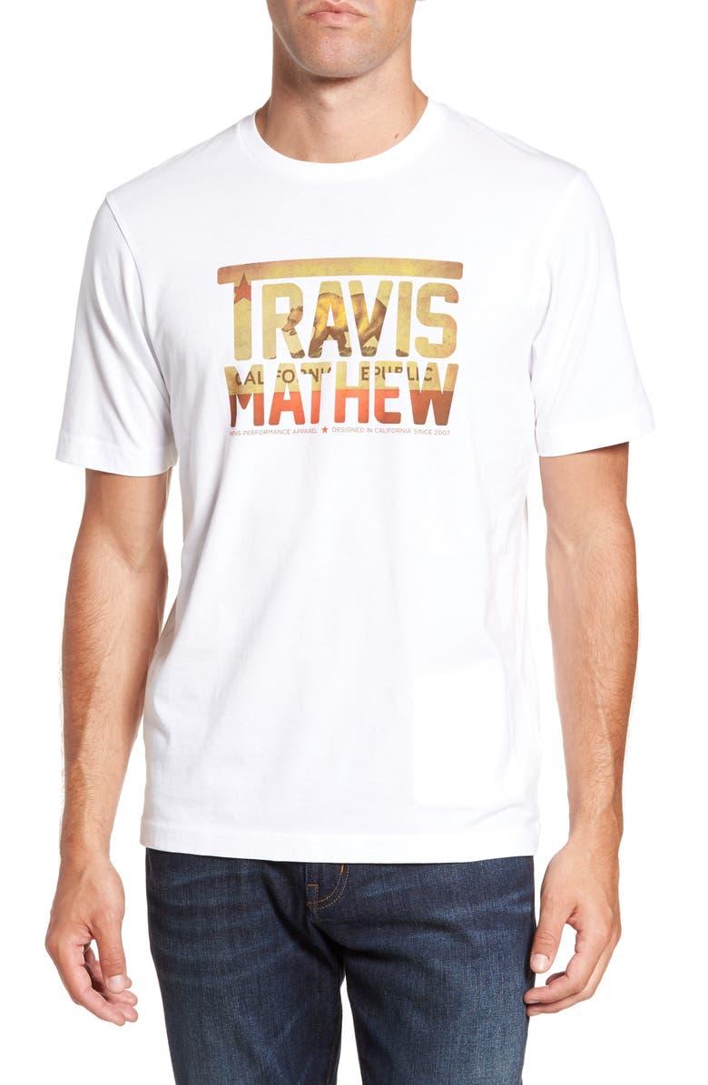 TRAVISMATHEW Travis Mathew Cali Bear TM T-Shirt, Main, color, 100