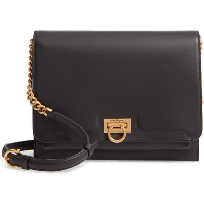 Salvatore Ferragamo Gancio Square Leather Crossbody Bag - Black