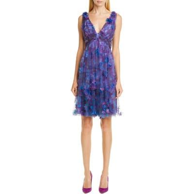 Marchesa Notte Floral Tulle Cocktail Dress, Purple