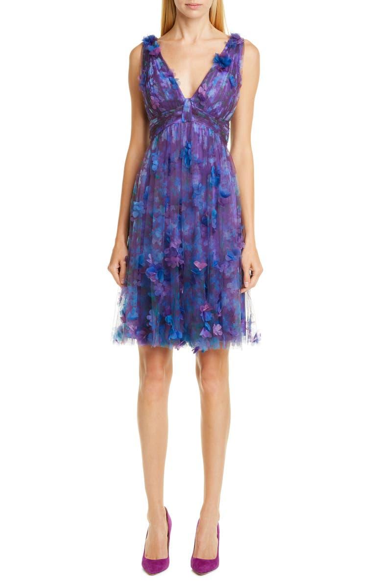 MARCHESA NOTTE Floral Tulle Cocktail Dress, Main, color, PURPLE