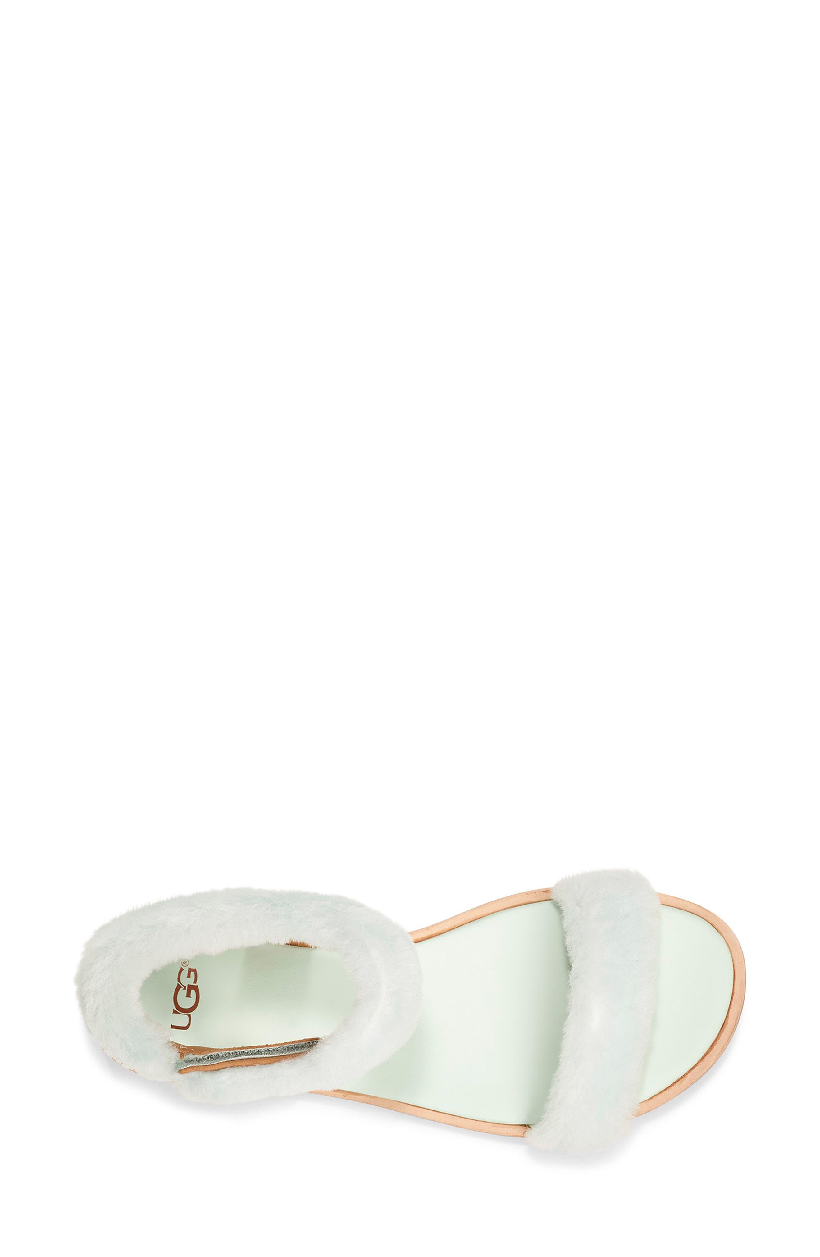,                             Fluff Springs Genuine Shearling Sandal,                             Alternate thumbnail 4, color,                             AGAVE GLOW