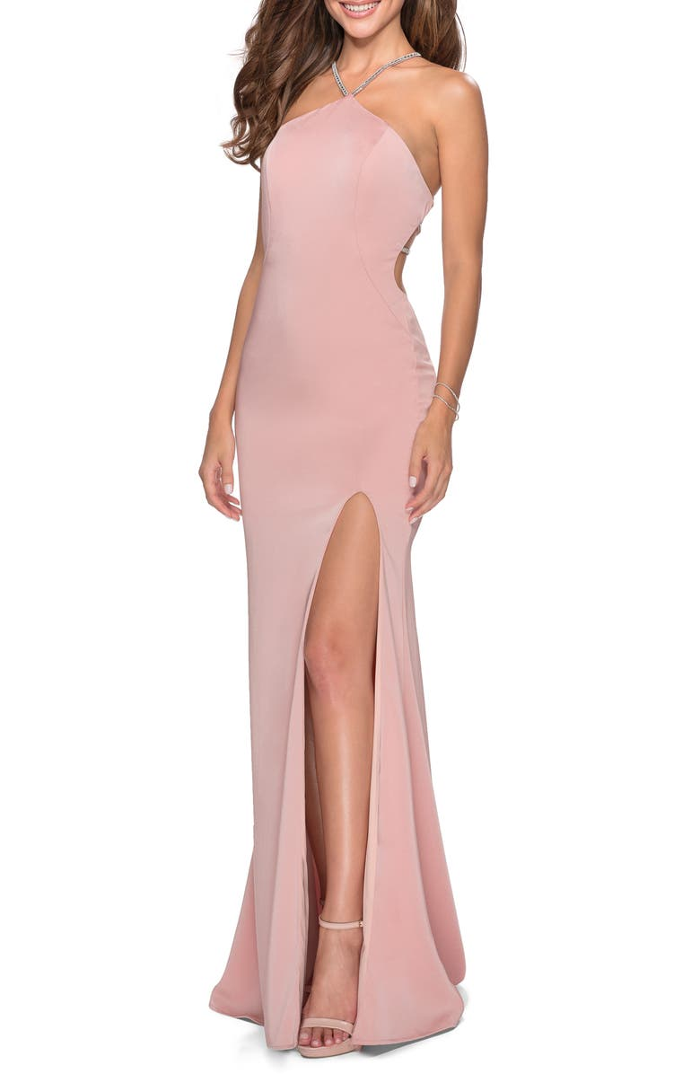 LA FEMME Embellished Neckline Gown, Main, color, BLUSH