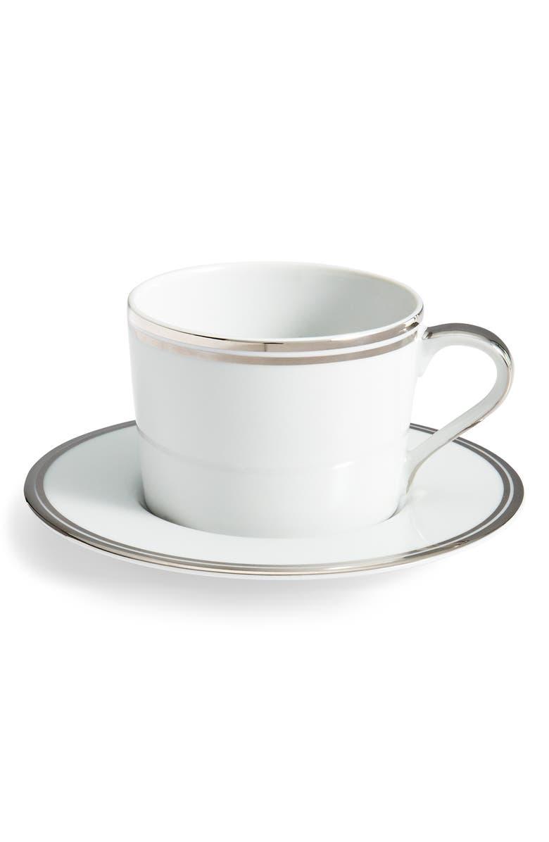 RALPH LAUREN Wilshire Teacup & Saucer, Main, color, PLATINUM