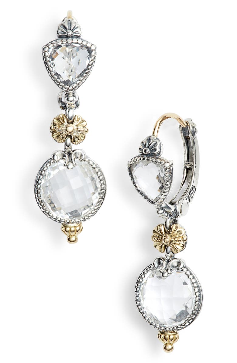 KONSTANTINO Pythia Double Drop Crystal Earrings, Main, color, SILVER/ CRYSTAL