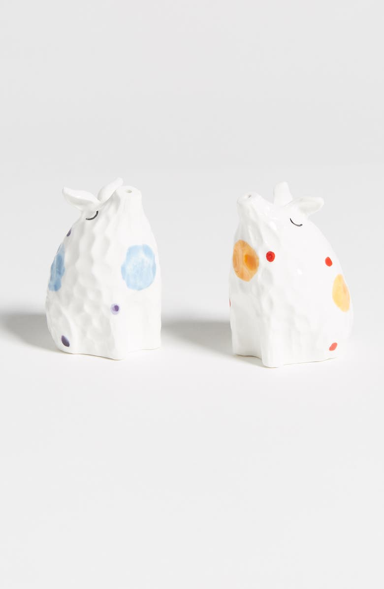 ANTHROPOLOGIE Dot Tile Pig Salt & Pepper Shakers, Main, color, WHITE