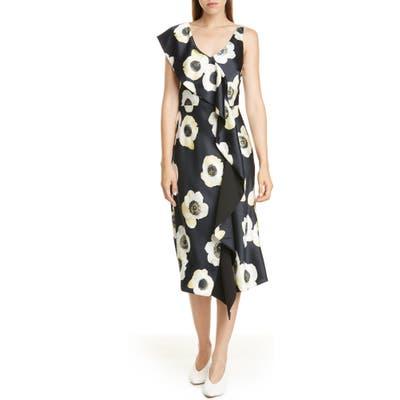Hugo Kami Floral Faux Wrap Dress, Blue