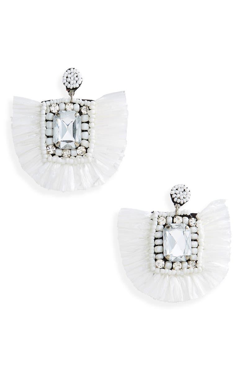 TOPSHOP Decor Raffia Earrings, Main, color, WHITE MULTI