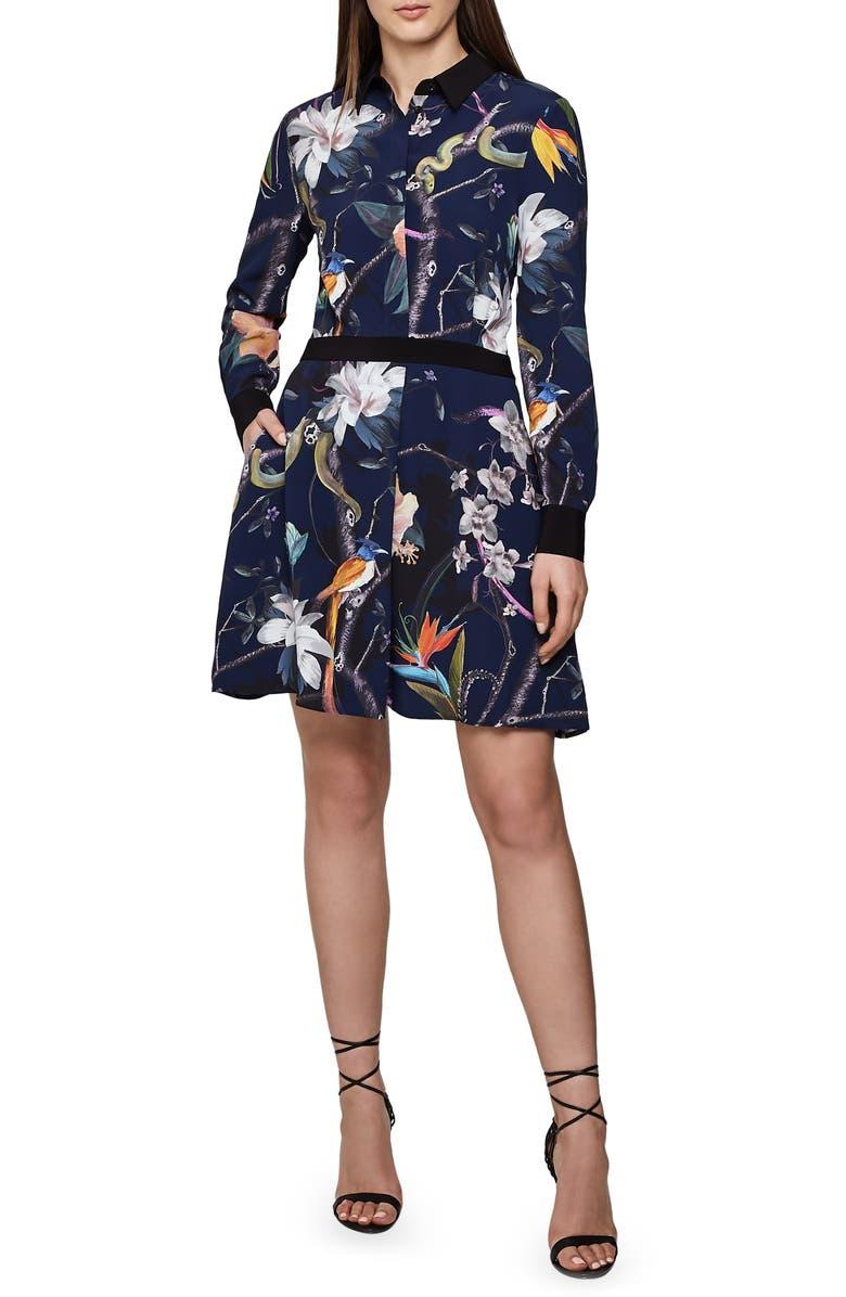 REISS Gilda Tropical Print Long Sleeve Shirtdress, Main, color, 410