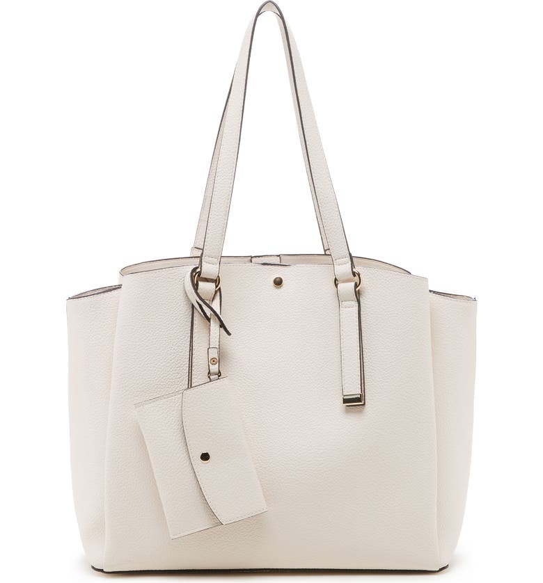 SOLE SOCIETY Fira Faux Leather Tote, Main, color, LINEN