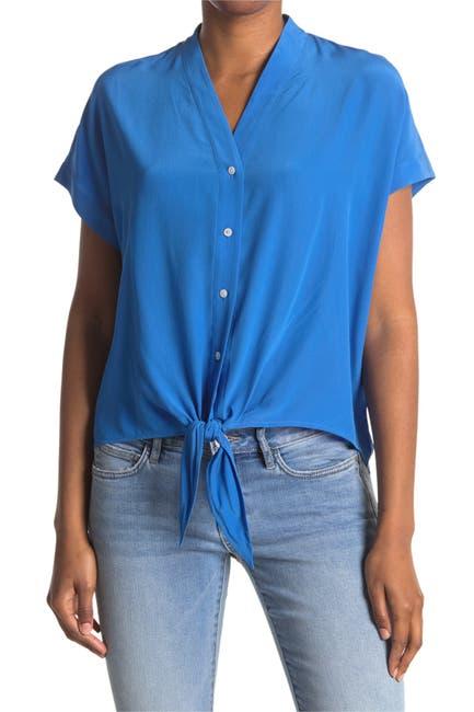 Image of Tommy Bahama Tove Short Sleeve Tie Hem Silk Blouse
