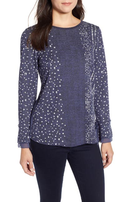 Image of NIC+ZOE Dotted Line Cuffed Top