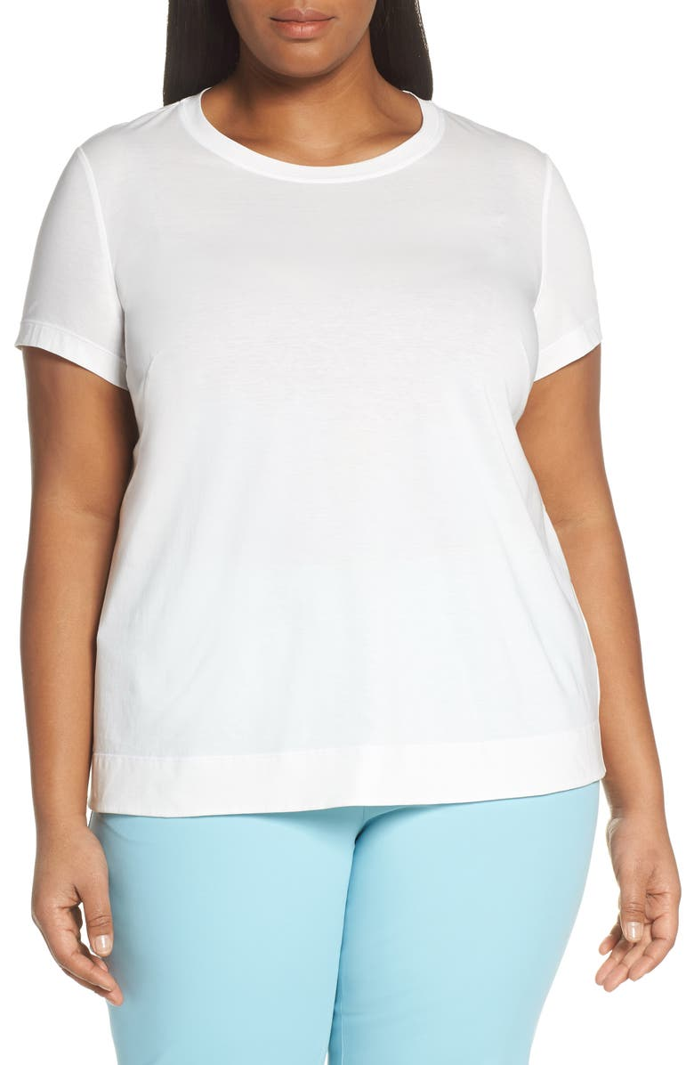 LAFAYETTE 148 NEW YORK The Modern Cotton Tee, Main, color, WHITE