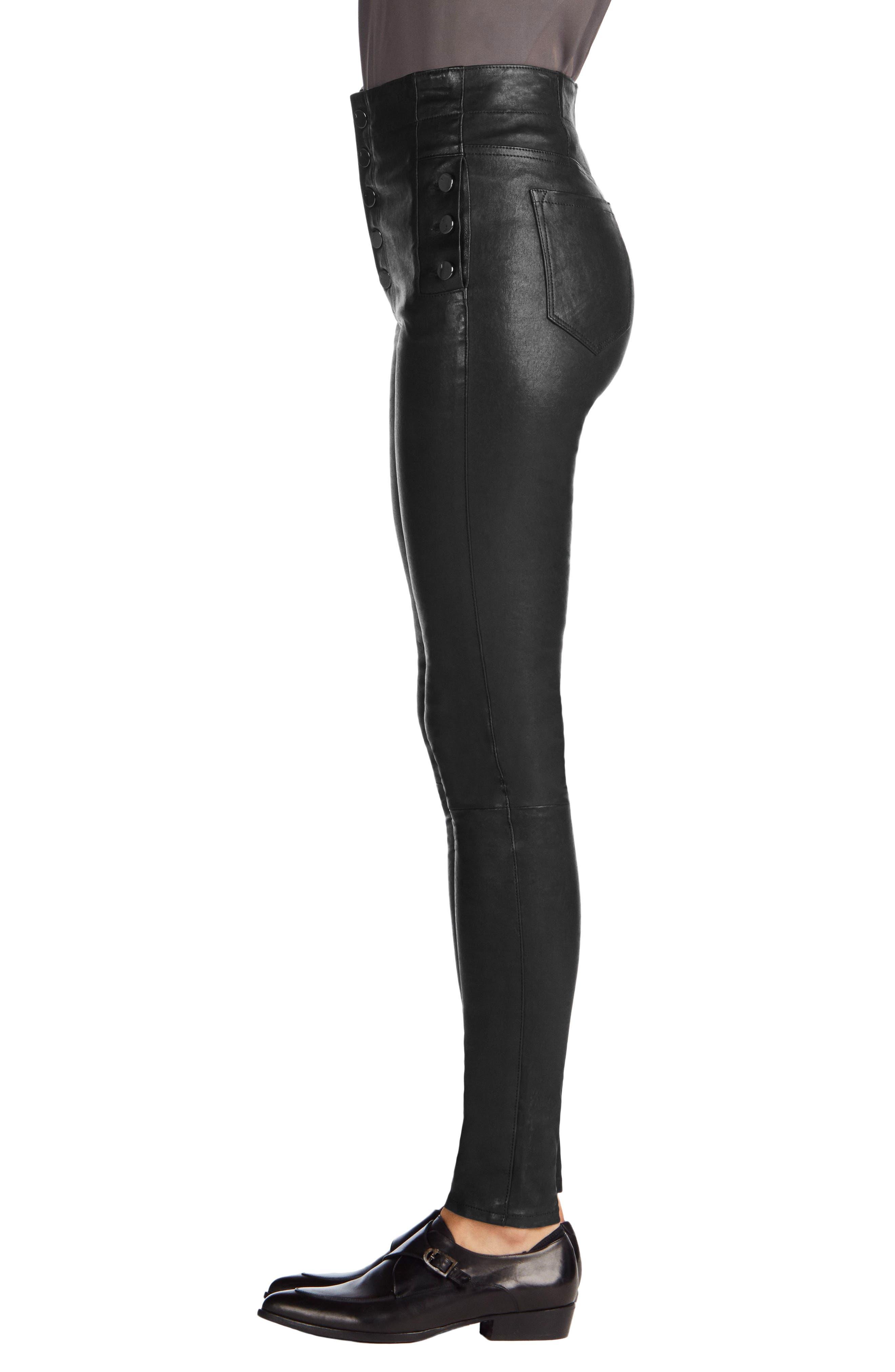 ,                             Natasha High Waist Skinny Leather Pants,                             Alternate thumbnail 4, color,                             BLACK